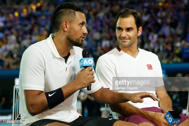 Nick Kyrgios and Roger Federer speak after the Rally for Relief Bushfire Appeal event at Rod Laver Arena on January 15 2020 in Melbourne Australia