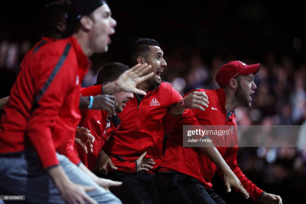 Nick Kyrgios and Team World celebrate from the players bench as John Isner of Team World plays his singles match against Dominic Thiem of Team Europe on the first day of the Laver Cup on September 22, 2017 in Prague, Czech Republic. The Laver Cup consists of six European players competing against their counterparts from the rest of the World. Europe will be captained by Bjorn Borg and John McEnroe will captain the Rest of the World team. The event runs from 22-24 September.