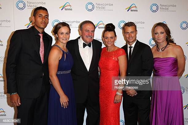 Nick Kyrgios Ashleigh Barty John Newcombe Casey Dellacqua Lleyton Hewitt and Samantha Stosur arrive prior to the 2013 Newcombe Medal at Crown...