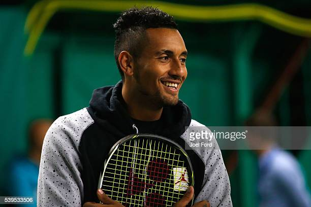Nick Kyrgios during a tennis clinic for children prior to the start of the Aegon Championships at Queens Club on June 12 2016 in London England