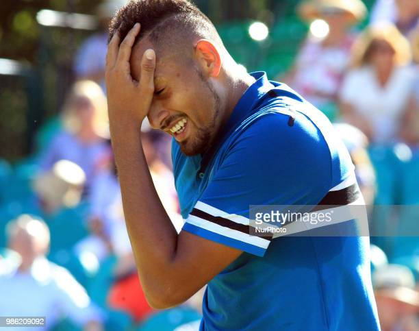 Nick Kyrgios during his match against Nick Kyrgios day two of The Boodles Tennis Event at Stoke Park on June 27 2018 in Stoke Poges England