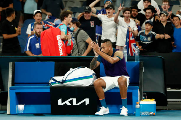 Nick Kyrgios fans celebrates after Nick won his Men's Singles second round match against Ugo Humbert of France during day three of the 2021...