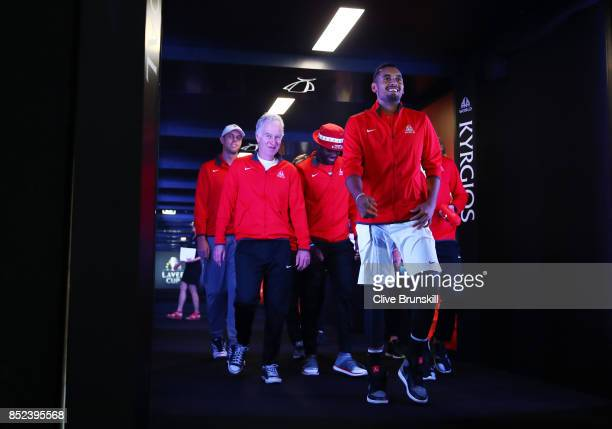 Nick Kyrgios Frances Tiafoe and John Mcenroe Captain of Team World enter the arena on Day 2 of the Laver Cup on September 23 2017 in Prague Czech...