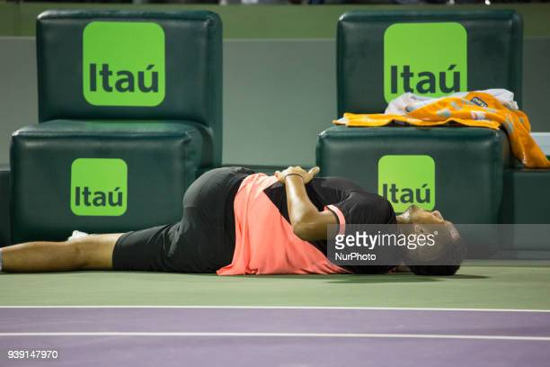 Nick Kyrgios from Australia doing some selfmassages during one of the change over during his match against Alexander Zverev from Germany Miami Open...