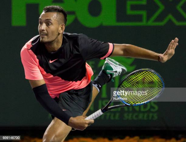 Nick Kyrgios from Australia in action against Alexander Zverev from Germany during his fourth round match at the Miami Open in Key Biscayne on March...