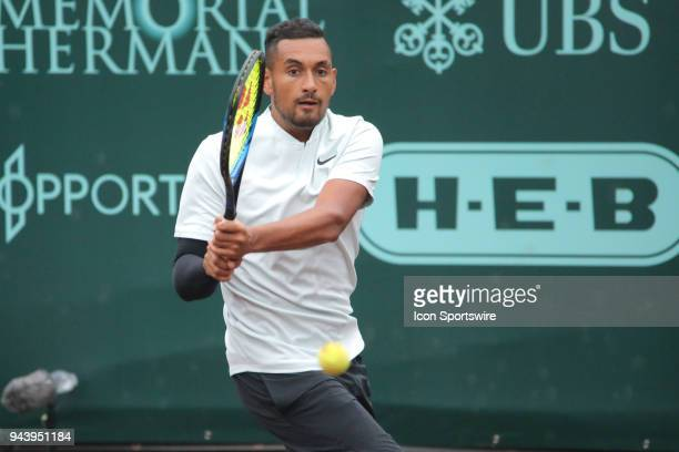 Nick Kyrgios hits a backhand during the Doubles first round of the US Men's Clay Court Championship on April 9 2018 at River Oaks Country Club in...