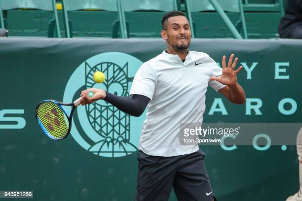 Nick Kyrgios hits a forehand during the Doubles first round of the US Men's Clay Court Championship on April 9 2018 at River Oaks Country Club in...