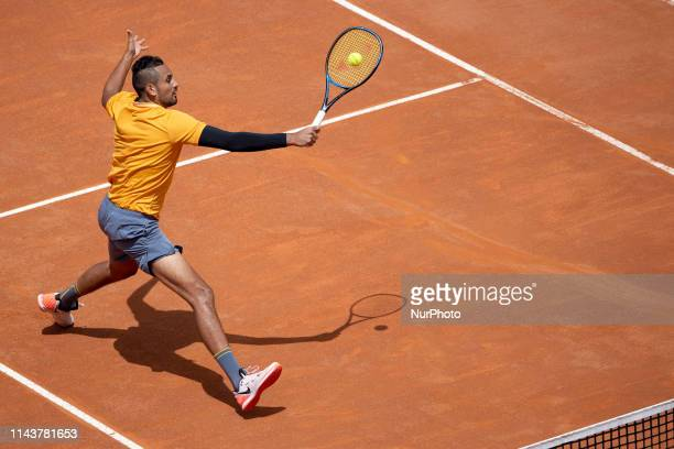 Nick Kyrgios in action against Danil Medvedev during Internazionali BNL D'Italia Italian Open at the Foro Italico Rome Italy on 14 May 2019