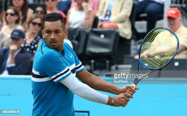Nick Kyrgios in action during FeverTree Championships 2nd Round match between Nick Kyrgios against Kyle Edmund at The Queen's Club London on 21 June...