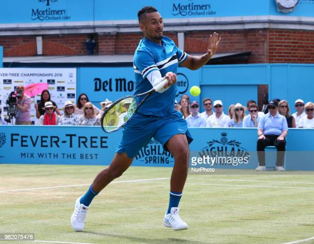 Nick Kyrgios in action during FeverTree Championships Semi Final match between Marin Cilic against Nick Kyrgios at The Queen's Club London on 23 June...