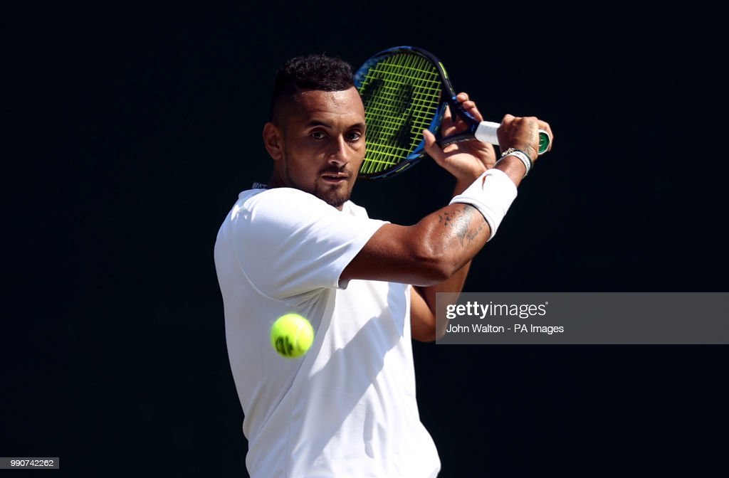 Nick Kyrgios in action on day two of the Wimbledon Championships at the All England Lawn Tennis and Croquet Club, Wimbledon.
