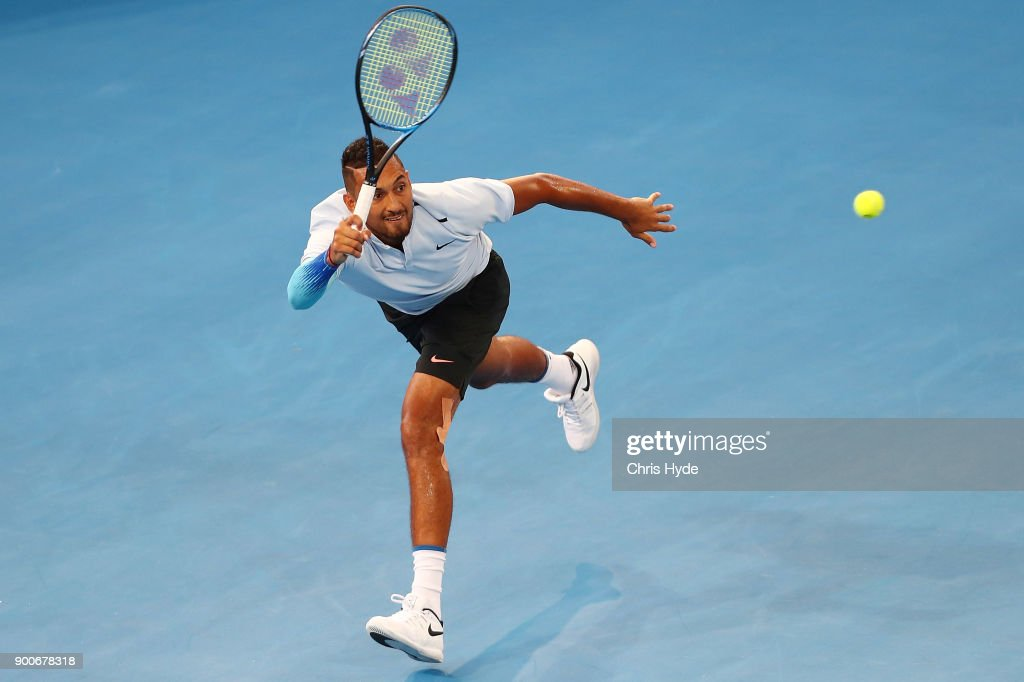 Nick Kyrgios of Austraia plays a forehand in his match against Matthew Ebden of Australia during day four of the 2018 Brisbane International at Pat Rafter Arena on January 3, 2018 in Brisbane, Australia.