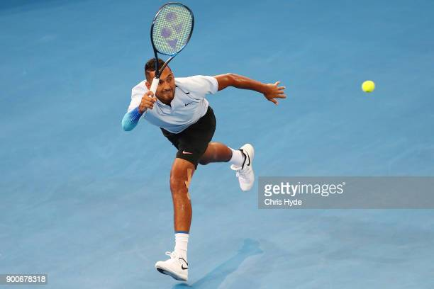 Nick Kyrgios of Austraia plays a forehand in his match against Matthew Ebden of Australia during day four of the 2018 Brisbane International at Pat...