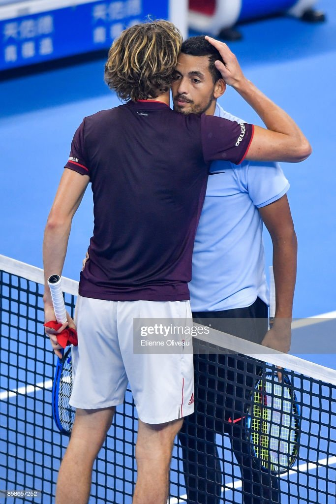 Nick Kyrgios of Australia and Alexander Zverev of Germany greet each other after their Men's singles semifinal match on day eight of 2017 China Open at the China National Tennis Centre on October 7, 2017 in Beijing, China.