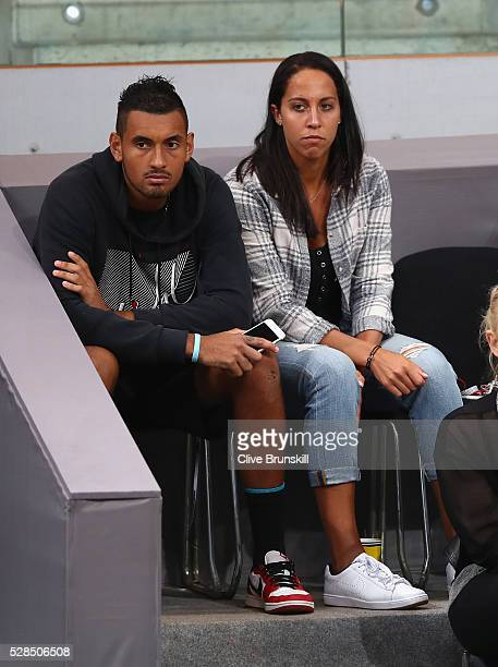 Nick Kyrgios of Australia and Madison Keys of the United States watch Jack Sock of the United States against Joao Sousa of Portugal in their third...