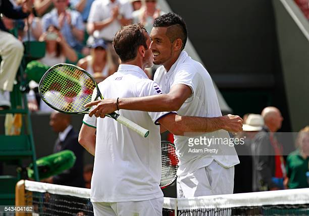 Nick Kyrgios of Australia and Radek Stepanek of The Czech Republic shake hands following the Men's Singles first round match on day two of the...