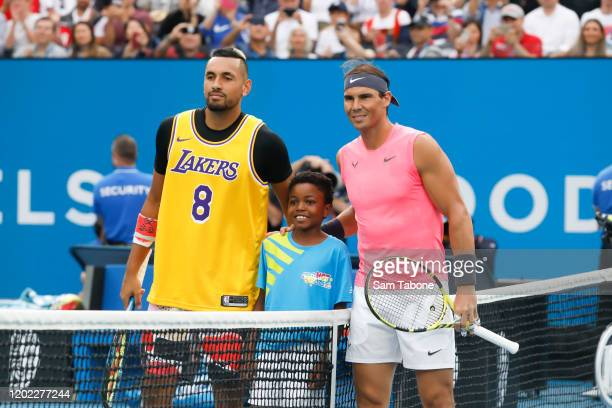 Nick Kyrgios of Australia and Rafael Nadal of Spain pose just before the coin toss on day nine of the 2020 Australian Open at Melbourne Park on...