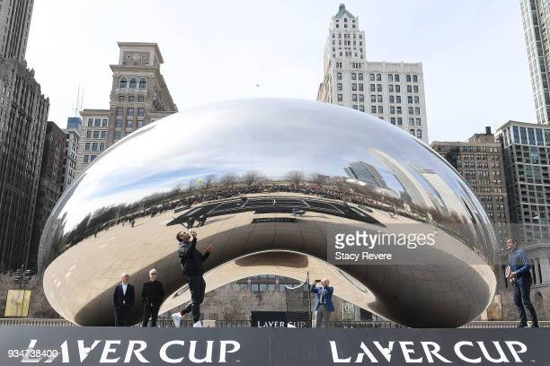 Nick Kyrgios of Australia and Roger Federer of Switzerland play an exhibition match at Cloud Gate for the Laver Cup 2018 Chicago Launch on March 19...