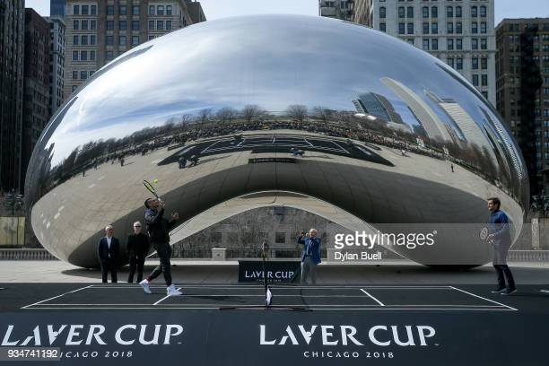 Nick Kyrgios of Australia and Roger Federer of Switzerland play an exhibition during the Laver Cup 2018 Chicago Launch at Cloud Gate on March 19 2018...