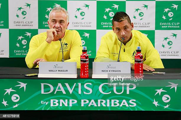 Nick Kyrgios of Australia and Wally Masur captain of Australia speak to the media during a press conference after day one of the Davis Cup World...