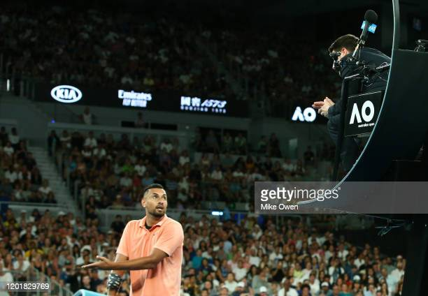 Nick Kyrgios of Australia argues with the chair umpire during his Men's Singles third round match against Karen Khachanov of Russia on day six of the...