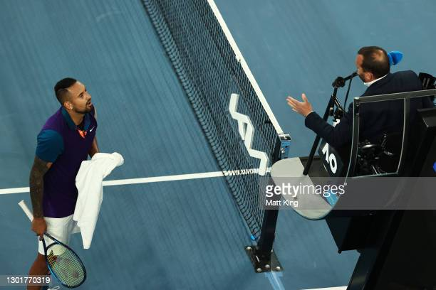 Nick Kyrgios of Australia argues with the chair umpire in his Men's Singles third round match against Dominic Thiem of Austria during day five of the...