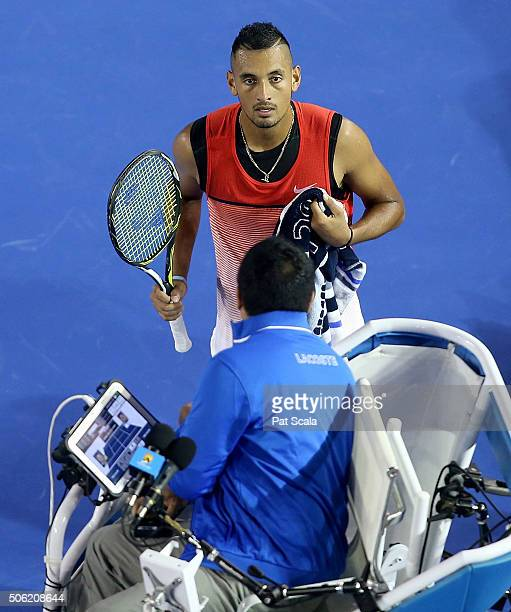 Nick Kyrgios of Australia argues with the main chair umpire during his third round match against Tomas Berdych of Czech Republic on day five of the...