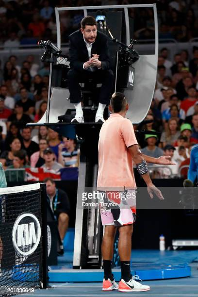 Nick Kyrgios of Australia argues withy the chair umpire during his Men's Singles third round match against Karen Khachanov of Russia on day six of...