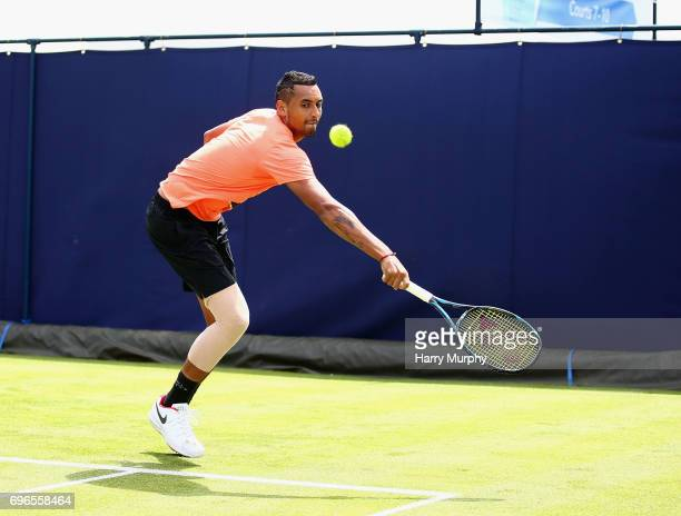 Nick Kyrgios of Australia attempts a backhand shot during a practice session ahead of the Aegon Championships at Queens Club on June 16 2017 in...