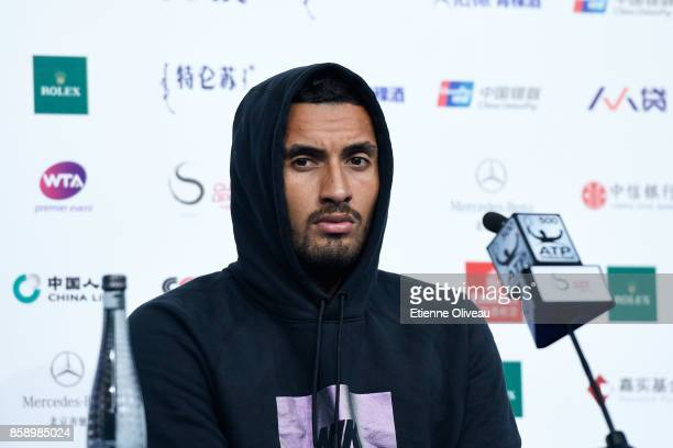 Nick Kyrgios of Australia attends a press conference after his defeat against Rafael Nadal of Spain in the Men's Singles final on day nine of the...