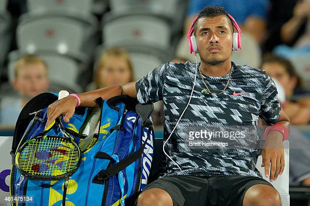 Nick Kyrgios of Australia awaits rain delays in his first round match against Jerzy Janowicz of Poland during day three of the Sydney International...
