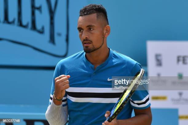 Nick Kyrgios of Australia celebrates a point during the semi final singles match on day six of Fever Tree Championships at Queen's Club London on...