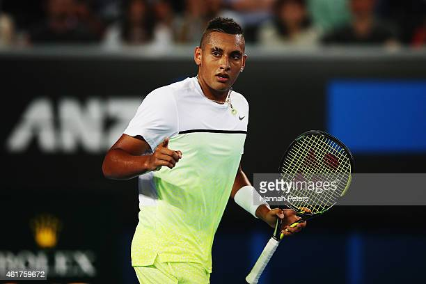 Nick Kyrgios of Australia celebrates a point in his first round match against Federico Delbonis of Argentina during day one of the 2015 Australian...