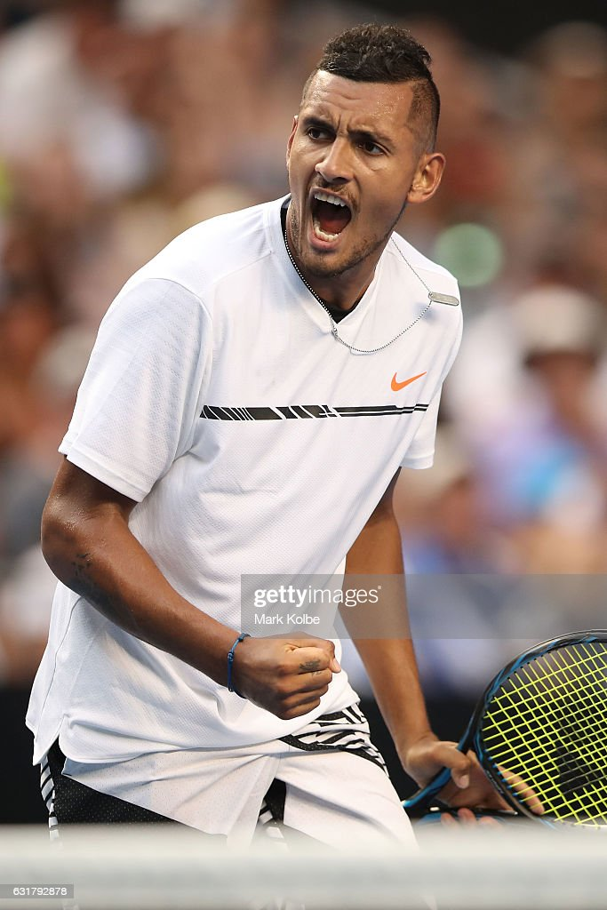 Nick Kyrgios of Australia celebrates a point in his first round match against Gastao Elias or Portugal on day one of the 2017 Australian Open at Melbourne Park on January 16, 2017 in Melbourne, Australia.