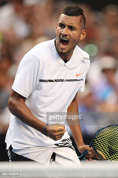 Nick Kyrgios of Australia celebrates a point in his first round match against Gastao Elias or Portugal on day one of the 2017 Australian Open at...