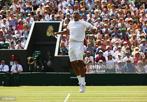 Nick Kyrgios of Australia celebrates a point in his Gentlemen's Singles Third Round match against Milos Raonic of Canada during day five of the...