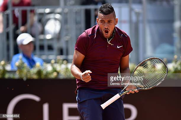 Nick Kyrgios of Australia celebrates a point in his match against Salvatore Caruso of Italy on Day Two of The Internazionali BNL d'Italia 2016 on May...