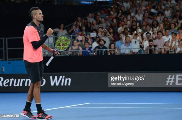 Nick Kyrgios of Australia celebrates after competing with Viktor Troicki of Serbia on day three of the 2018 Australian Open at Melbourne Park on...