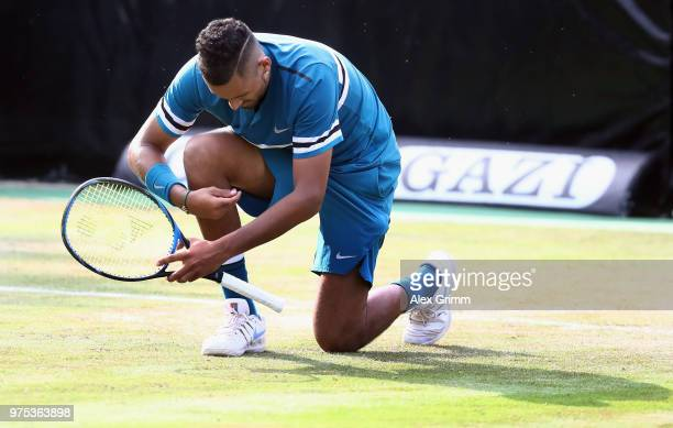 Nick Kyrgios of Australia celebrates after defeating Feliciano Lopez of Spain during day 5 of the Mercedes Cup at Tennisclub Weissenhof on June 15,...