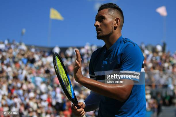 Nick Kyrgios of Australia celebrates after his victory over Feliciano Lopez of Spain during their 1/4 final match on Day 5 of the FeverTree...