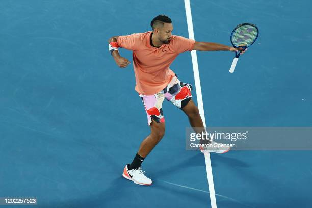 Nick Kyrgios of Australia celebrates after winning a point during his Men's Singles fourth round match against Rafael Nadal of Spain on day eight of...