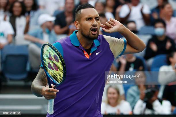 Nick Kyrgios of Australia celebrates after winning a point in his Men's Singles third round match against Dominic Thiem of Austria during day five of...