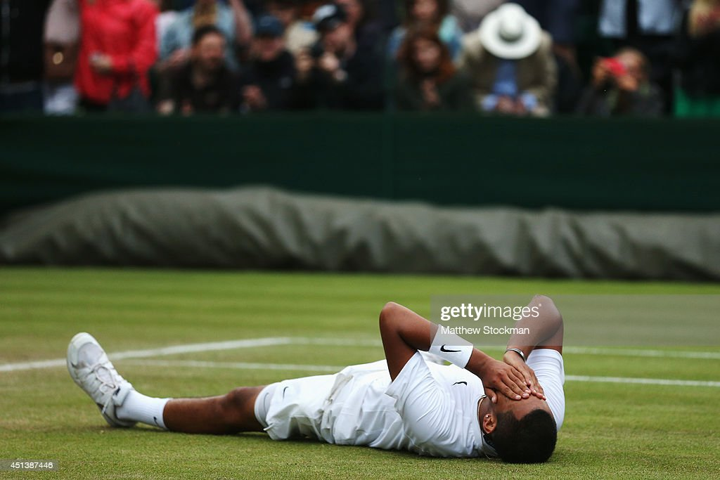 Nick Kyrgios of Australia celebrates after winning his Gentlemen's Singles third round match against Jiri Vesely of Czech Republic on day six of the Wimbledon Lawn Tennis Championships at the All England Lawn Tennis and Croquet Club at Wimbledon on June 28, 2014 in London, England.