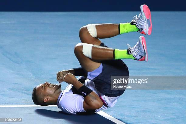 Nick Kyrgios of Australia celebrates after winning his match against Rafael Nadal of Spain as part of the day 3 of the Telcel Mexican Open 2019 at...