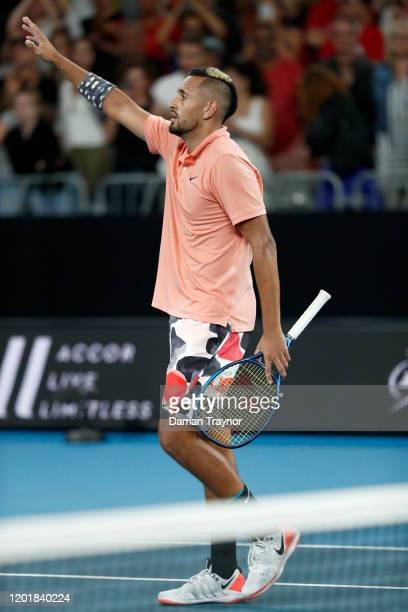 Nick Kyrgios of Australia celebrates after winning his Men's Singles third round match against Karen Khachanov of Russia on day six of the 2020...