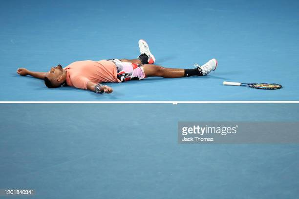 Nick Kyrgios of Australia celebrates after winning match point during his Men's Singles third round match against Karen Khachanov of Russia on day...