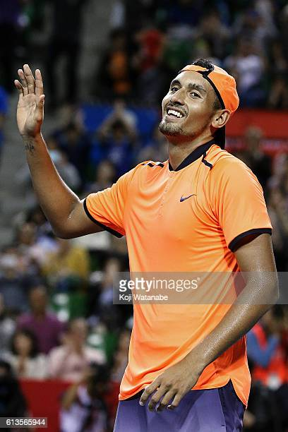 Nick Kyrgios of Australia celebrates after winning the men's singles final match against David Goffin of Belgium on day seven of Rakuten Open 2016 at...
