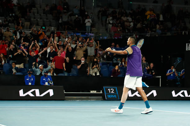 Nick Kyrgios of Australia celebrates after winning the second set in his Men's Singles third round match against Dominic Thiem of Austria during day...