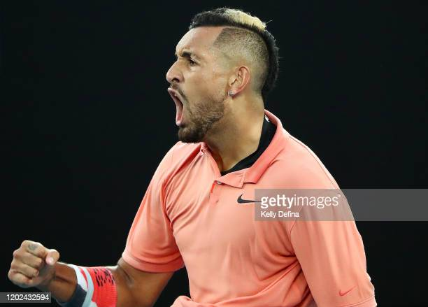 Nick Kyrgios of Australia celebrates during his Men's Singles fourth round match against Rafael Nadal of Spain on day eight of the 2020 Australian...