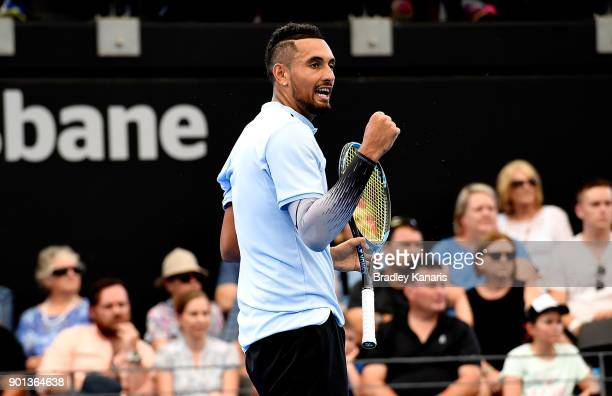 Nick Kyrgios of Australia celebrates in his match against Alexandr Dolgopolov of Ukraine during day six of the 2018 Brisbane International at Pat...